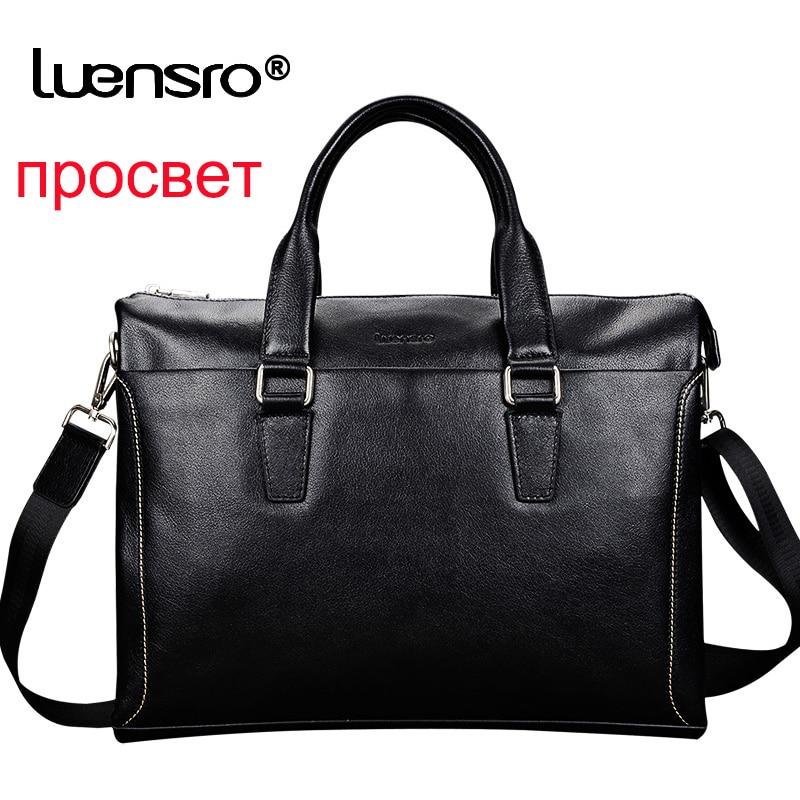 LUENSRO 100% Natural Cowskin Men Briefcase Genuine Leather Men's Briefcase 14 Inch Laptop Bag Male Business Leather Handbag Men