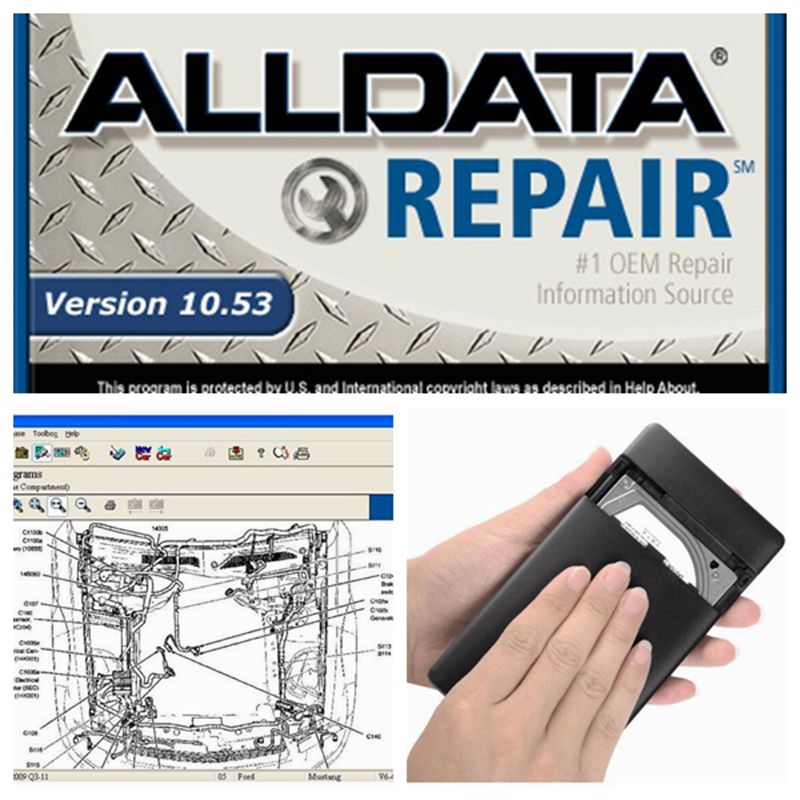 2020 venda quente alldata 10.53 software de reparação de automóveis em 640gb hdd todos os dados reparação de automóveis manual manutenção, diagrama de fiação, diagnóstico