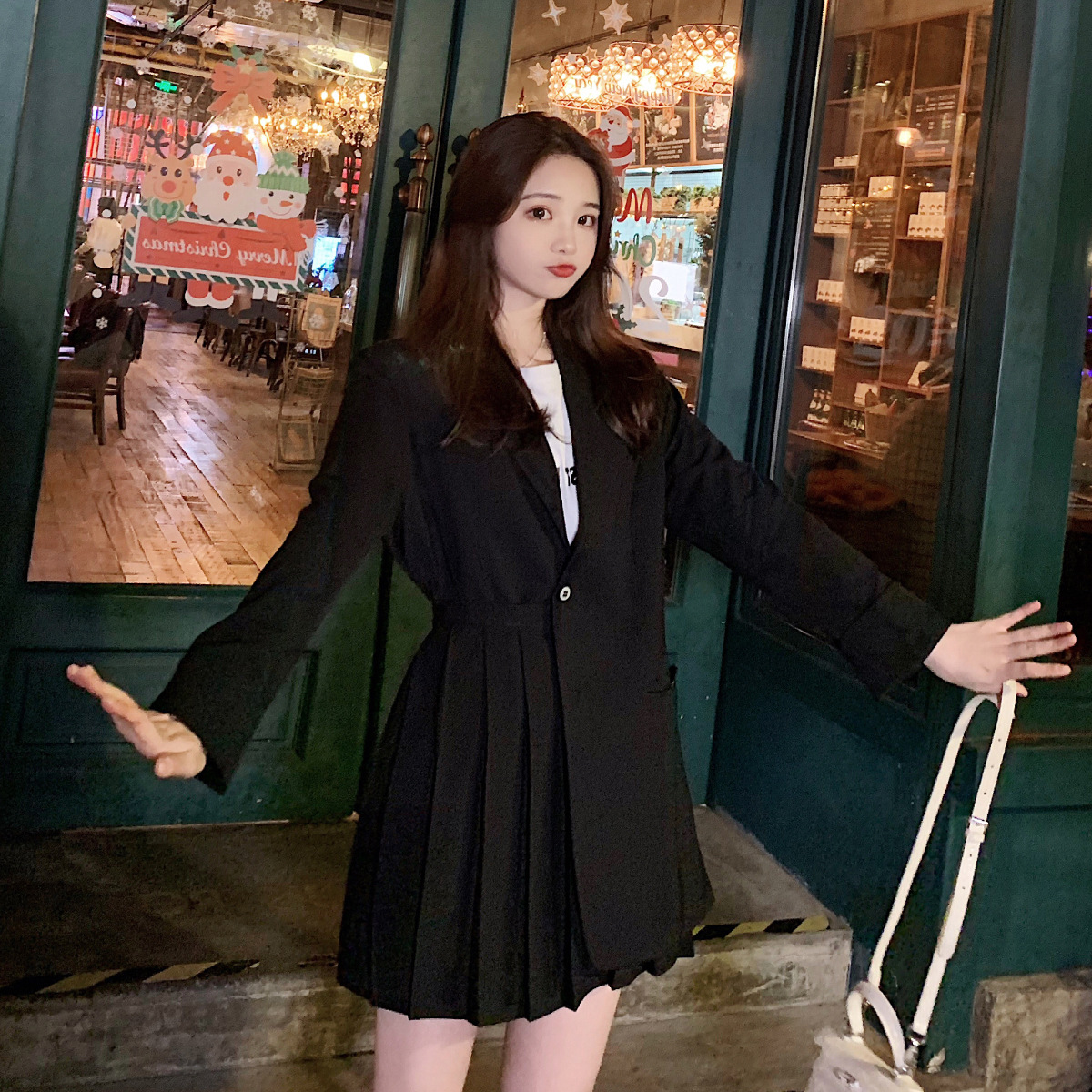 2020 Spring New Style WOMEN'S Dress Korean-style Retro Deconstructable Double Purpose Pleated Skirt Joint Suit Jacket Tops Women