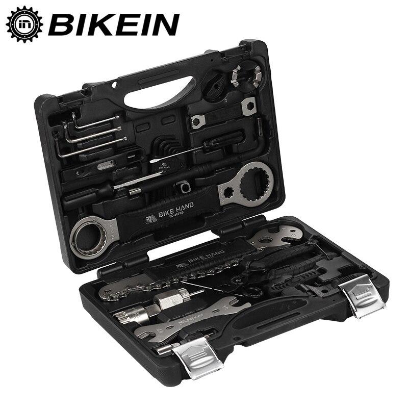 BIKEIN 18 en 1 Kit d'outils de réparation de vélo ensemble multifonction vtt outils de réparation de chaîne de pneu clé à rayons tournevis hexagonal outils de vélo