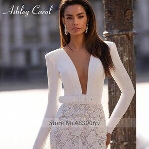 Image 3 - Long Sleeve Lace Mermaid Wedding Dresses 2020 Elegant Satin V neck Sashes Appliques Ashley Carol Bride Gown Vestido De Noiva