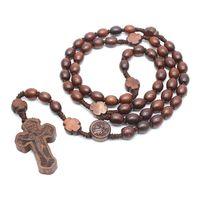 خشبية الوردية القلائد الصليب قلادة الدينية اليدوية الخرز المستديرة الكاثوليكية قلادة للرجال النساء