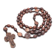 Wooden Rosary Necklaces Cross Pendant Religious Handmade Round Beads Catholic Necklace for Men Women