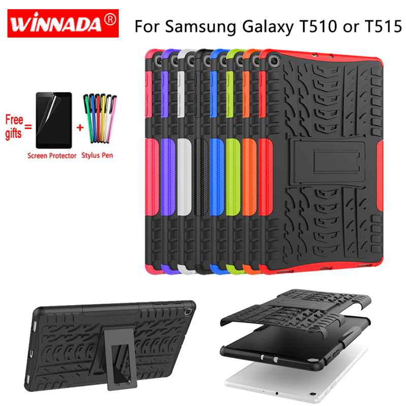 For Samsung GALAXY Tab A 10.1 2019 Case SM- T510 T515 Armor Case Tablet Silicone TPU+PC Shockproof Stand Cover For T510+pen+Film