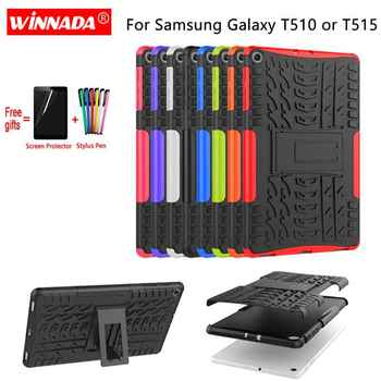 For Samsung GALAXY Tab A 10.1 2019 case SM- T510 T515 Armor case Tablet Silicone TPU+PC Shockproof Stand Cover for T510+pen+Film tablet case for samsung galaxy tab a 10 1 inch 2019 t510 fundas shockproof eva safe kids cover for sm t510 t515 protective case
