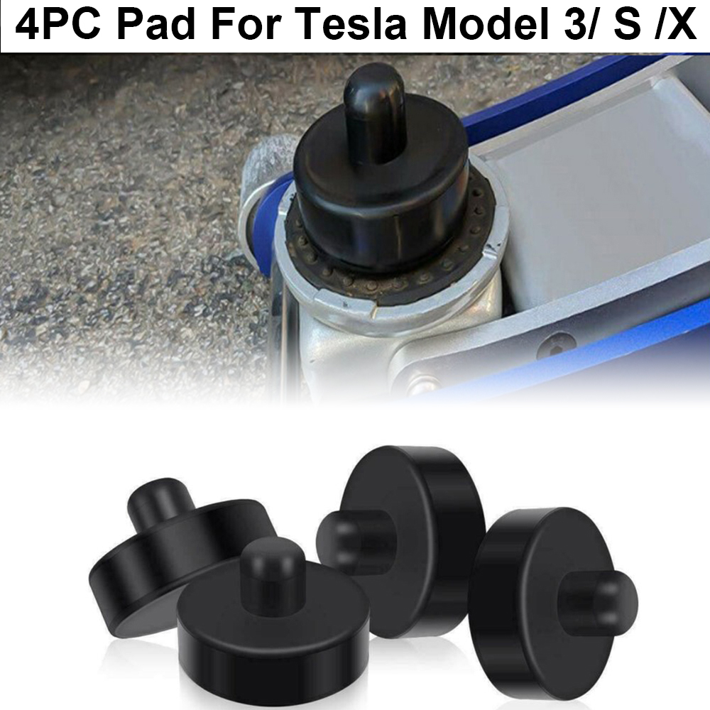 For Tesla Model 3/S/X Jack Point Lift Pad Rubber Black Equipment Replacement 4pcs Lifting Kit