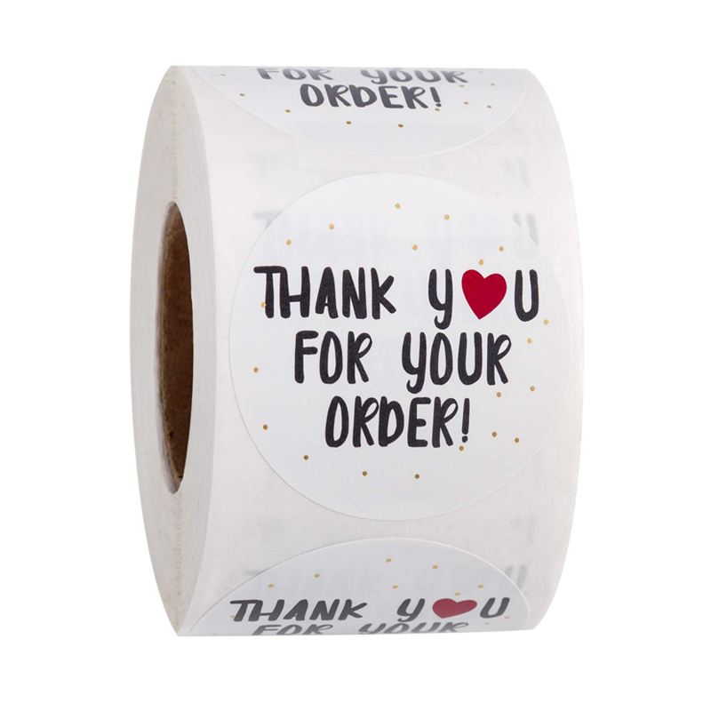 500pcs Round Thank You For Your Order Sticker Heart Thanks For Shopping Small Shop Local Handmade Sticker White Labels Sticker