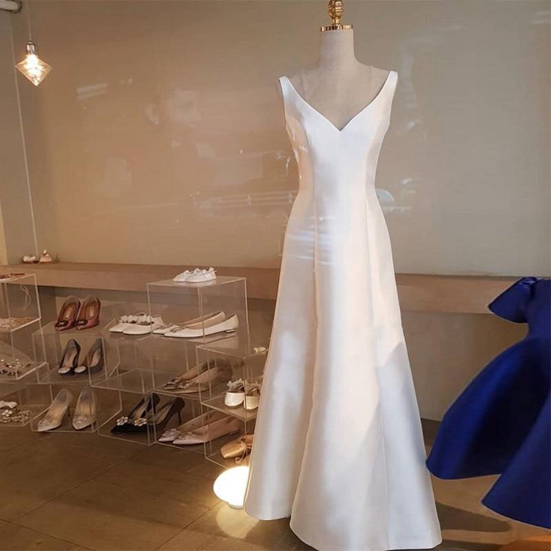 Simlpe V Neck Satin Wedding Dresses Elegant A Line White Ivory Sleeveless Beach Bridal Gowns Floor Length vestido de noiva 2019 in Wedding Dresses from Weddings Events