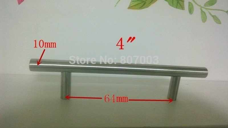 "(Diameter 10mm,Length:100mm) 4""  Furniture Hardware Kitchen Cabinet Handle, Bar Pull Handle Stainless Steel T Handles"