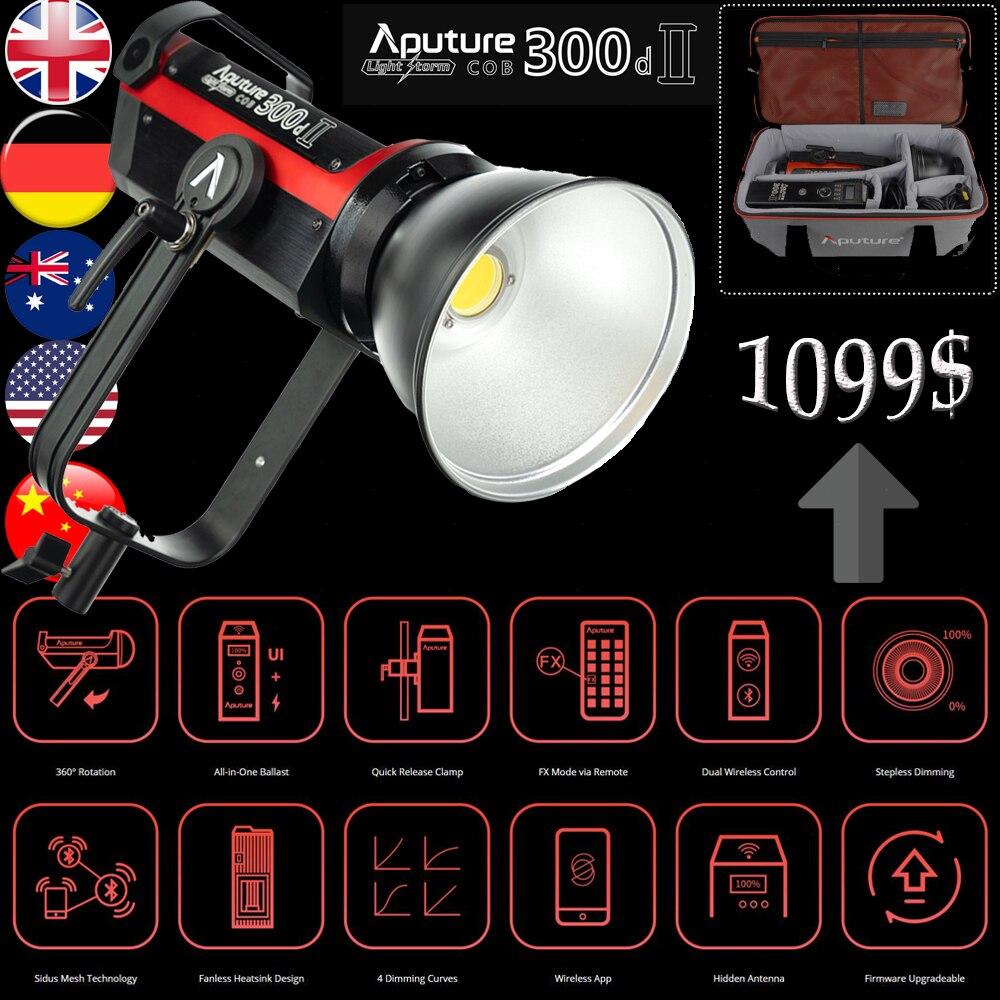 Aputure Light Storm COB 300D II Светодиодный осветитель Aputure COB C300d II Kit студийное освещение для фотосъемки на youtube