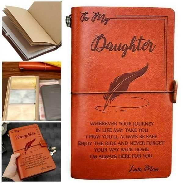 Leather Notebook Journal - To My Daughter From Mom Or Dad
