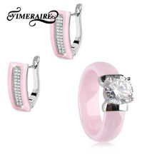 Romantic Pink Ceramic Jewelry Sets Big Crystal Ceramic Ring And Rectangle Earrings For Women Girl Party Fashion Set For Gifts(China)