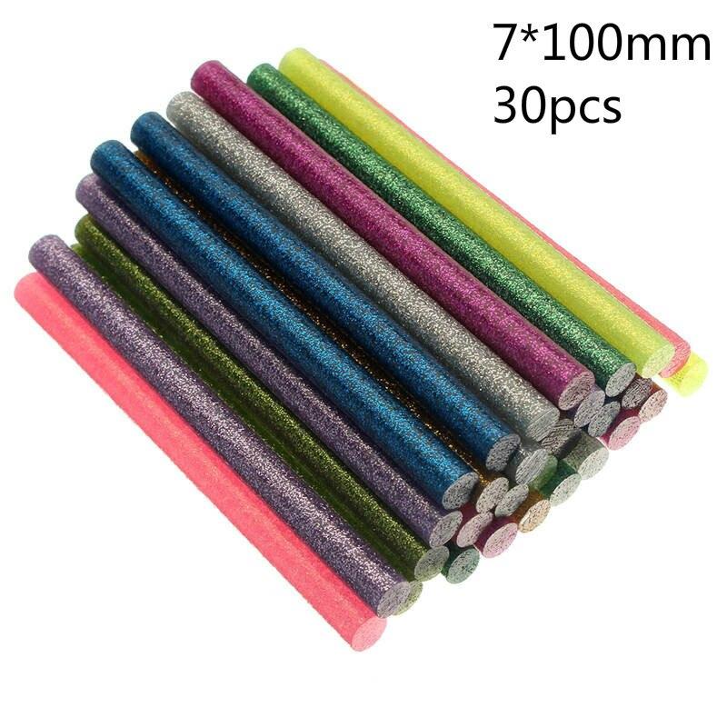 30 шт./компл. цветные палочки для термоплавкого клея 7 мм, клей в ассортименте с блестками 7x100 мм, профессиональный клей-карандаш для электриче...