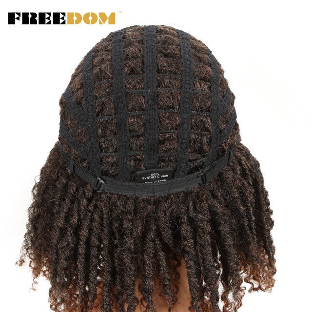 FREEDOM Short Brown High Temperature Twist Fiber Synthetic Wigs For Black Women Soft Dreadlock Wigs Braiding Crochet Hair Wigs