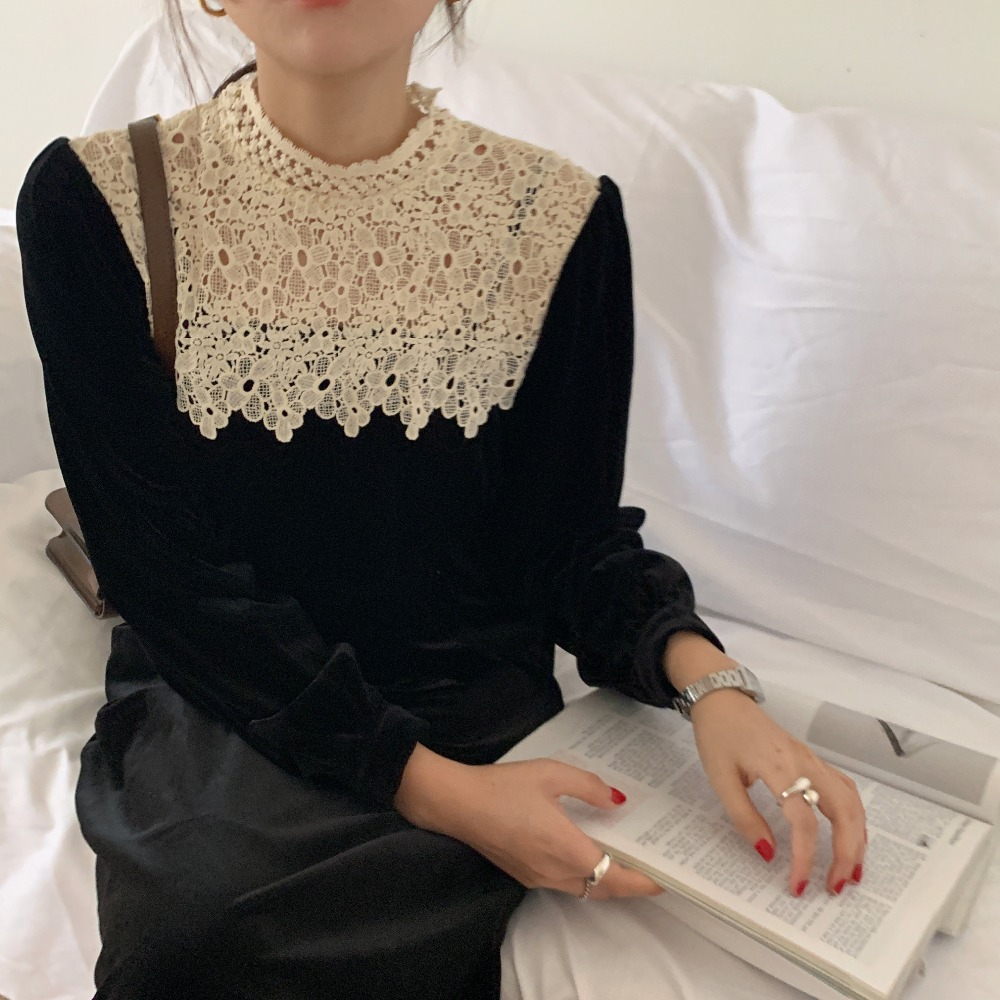 H589907495a6245ecbbee3c68bbed61bdP - Autumn / Winter Korean O-Neck Long Sleeves Lace Patchwork Midi Dress