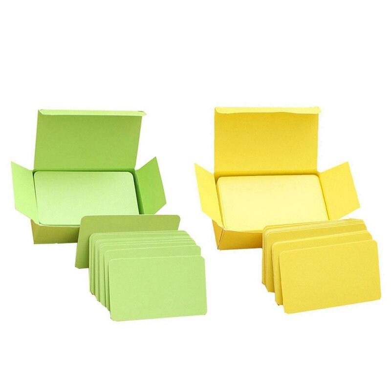 200 Pcs Memory Cards Blank DIY Graffiti Word Cards Net Small Memo Pad Blocks Memorandum Note Blank Word Cards , 100 Pcs Yellow &