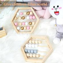 Nordic Style Natural Wooden Abacus With Beads Craft Baby Early Learning Educational Toys For Child Scandinavian
