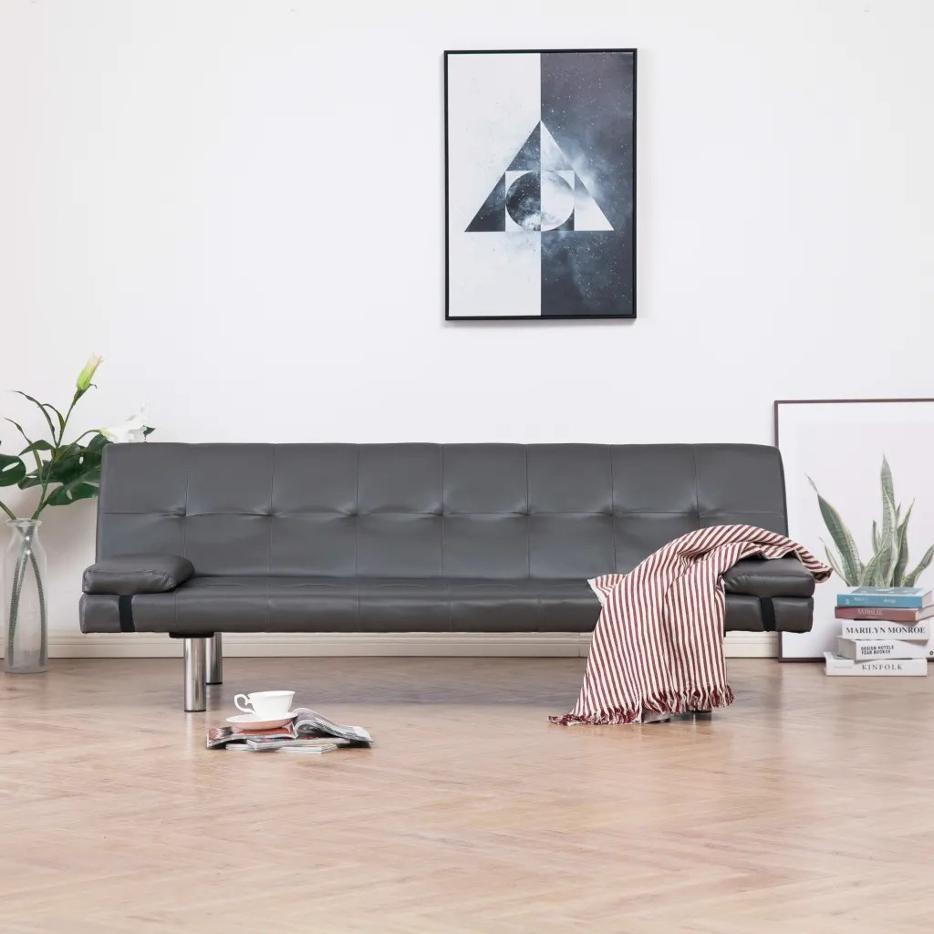 VidaXL Gray Leatherette Sofa Bed With Two Pillows Wooden Structure And Chrome...