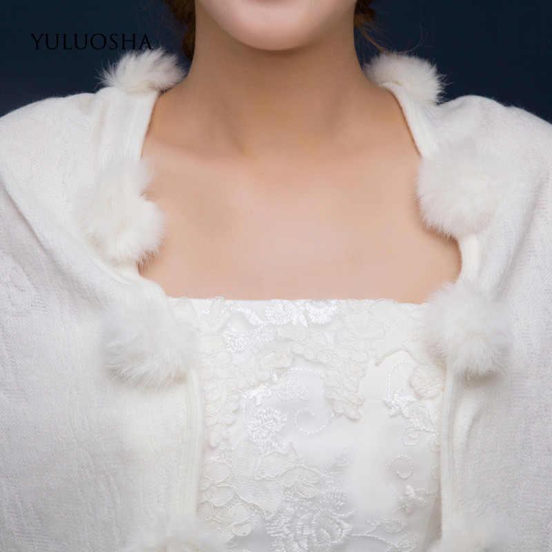YULUOSHA ฤดูใบไม้ร่วงฤดูหนาวผ้าขนสัตว์อบอุ่นผ้าคลุมไหล่ผ้าพันคอสามเหลี่ยมชุดเจ้าสาวผ้าคลุมไหล่ขนสัตว์ Faux แคชเมียร์แต่งงาน Elegant Cape