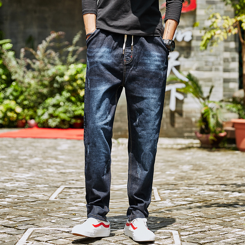 Autumn And Winter Harem Elastic Waist Lace-up Fashion Jeans Men'S Wear Popular Brand Small Youth Elasticity Casual Skinny Pants
