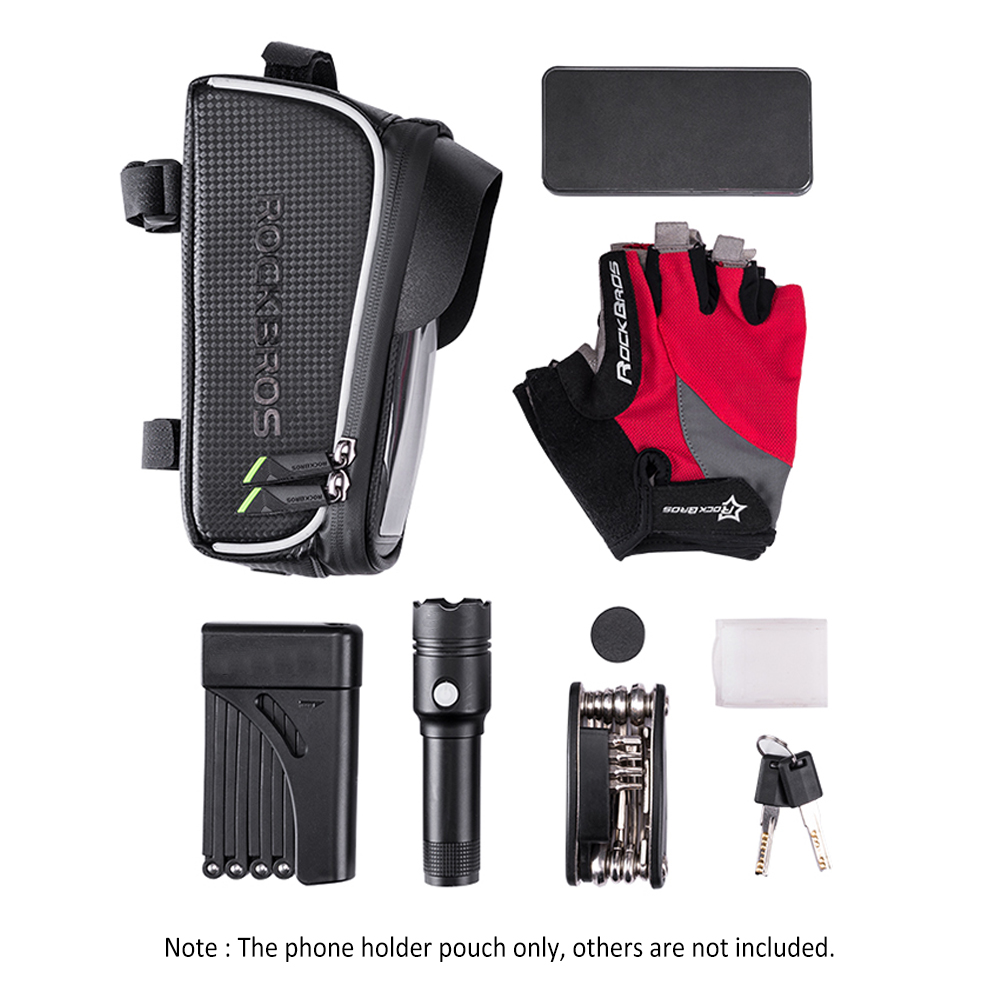 Discount Bike Phone Bag Top Tube Bag Cycling Front Frame Bag Phone Holder Touch Screen Bike Phone Pouch Front Pannier Case 6
