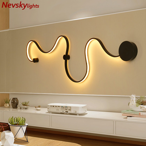 Image 3 - Wall light foyer led sconce snake shaped wall lamp ceiling lamps modern lustre wand lamp ceiling line light led fixtures living