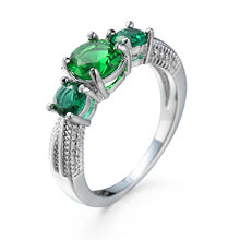 Fashion gril Real solid 925 Sterling Silver Finger Ring Women Emerald Ring Jewelry Vintage Charms Accessory Wedding Gifts(China)