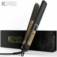 KIPOZI-전문가용 헤어 스트레이트너, LCD 디스플레이, 2 In 1 헤어 아이언, 이중 전압 조절 가능한 온도 헤어 컬러