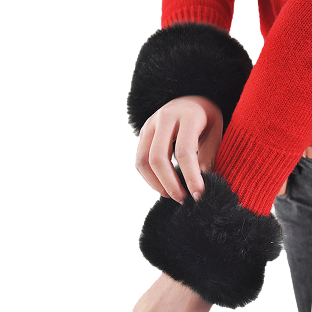 1 Pair Women Fashion Winter Warm Faux Fur Elastic Wrist Slap On Cuffs Ladies Simple Solid Color Arm Warmer Plush Wrist Protector
