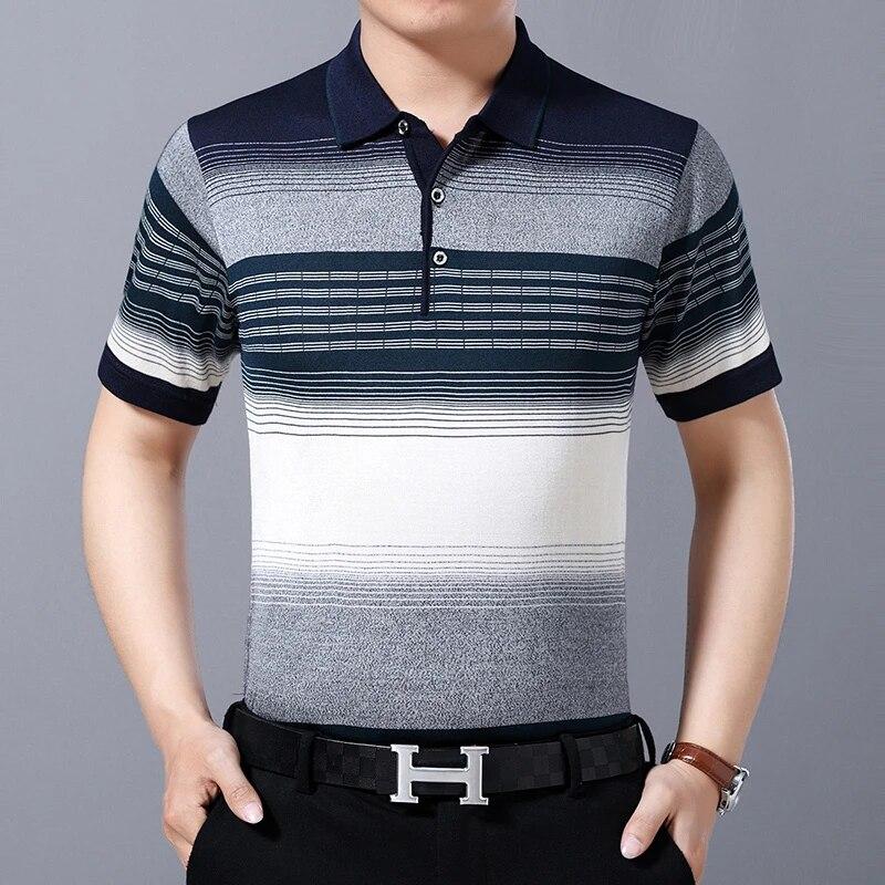 Nice Summer short-sleeve Knitted Striped Polo Shirt Men Clothing Fashion Polo Shirts T-shirts Pol Mens Poloshirt Clothing