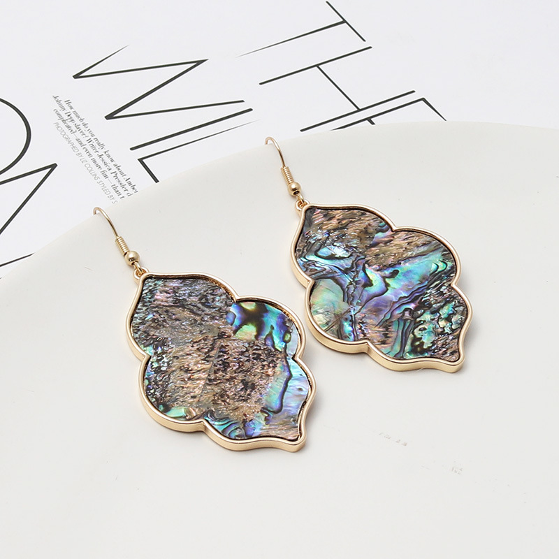 ZWPON Fashion Morocco Zinc Alloy Abalone Shell Wood Snakeskin Earrings Simple Geometric I Abalone Earrings for Woman Jewelry