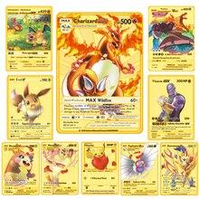 Pokemon jogo de cartas de metal francês anime batalha cartão de ouro charizard pikachu coleção cartão figura de ação modelo de brinquedo criança