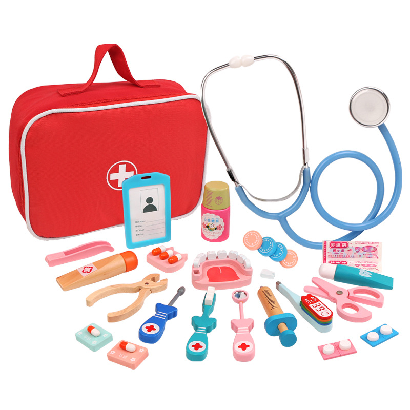 Wooden Pretend Play Doctor Educational Toys for Children Medical Simulation Medicine Chest Set for Kids Role Playing Pretend Toy