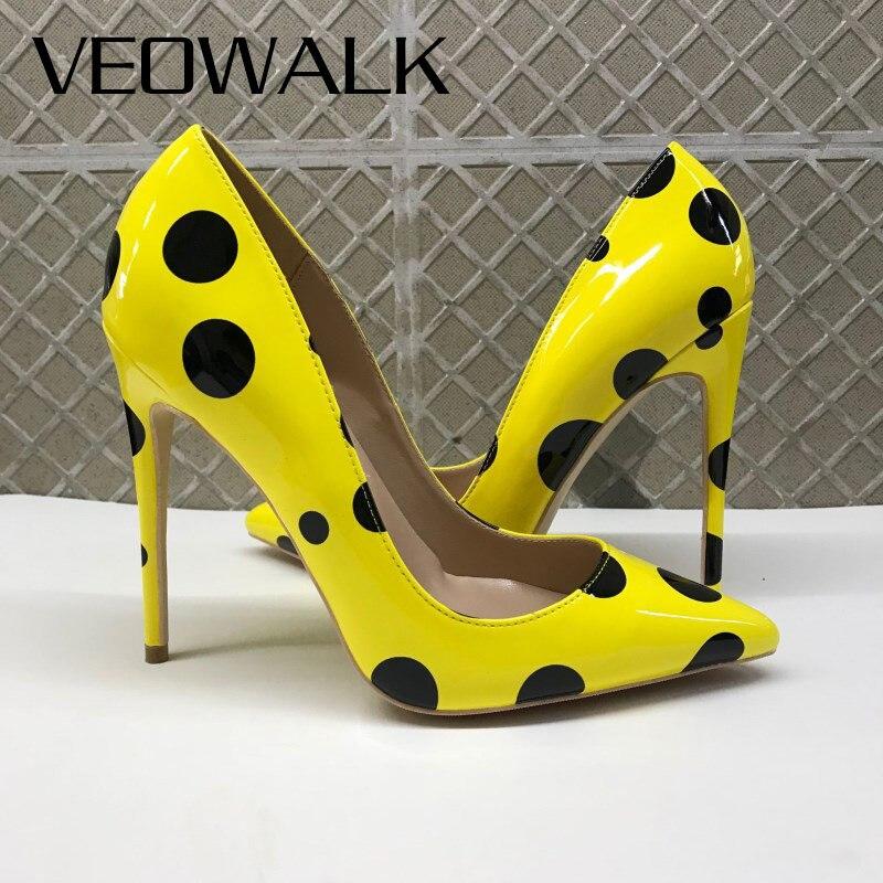 Veowalk Black Polka Dots Women Yellow Stilettos High Heels Ladies Fashion Slip On Pumps Club Party Dress Shoes Color Customized