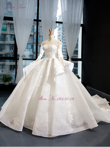 Image 3 - Julia Kui High end Vintage Puffy Skirt Of Ball Gown Wedding Dresses With Long Sleeve Beauty Bridal Gowns Robe de Mariage