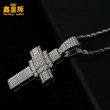 Luxury Diamond Cross Cuban Pendant hip hop style titanium jewelry necklace fashion punk men's and women's jewelry necklac(China)