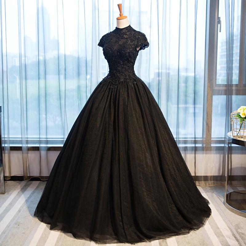 Wedding Dress 2019 High Neck Beading Lace Black Wedding Dresses Elegant Plus Size Short Sleeve Crystal Long Robe De Mariee CH057