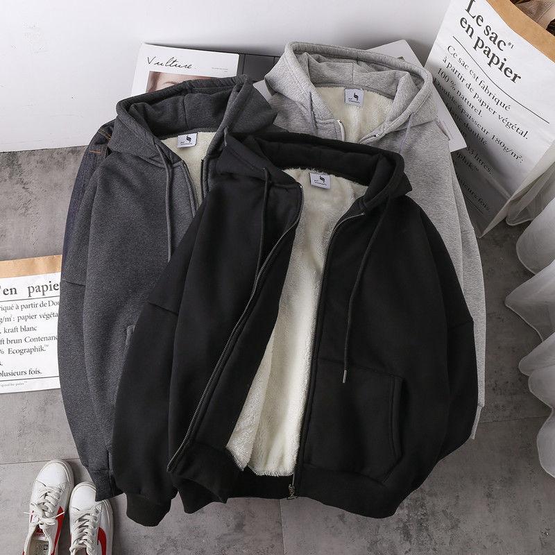 Women sweatshirt solid color 2020 autumn winter new imitation lamb wool korean loose plus velvet thick zipper tops hoodie