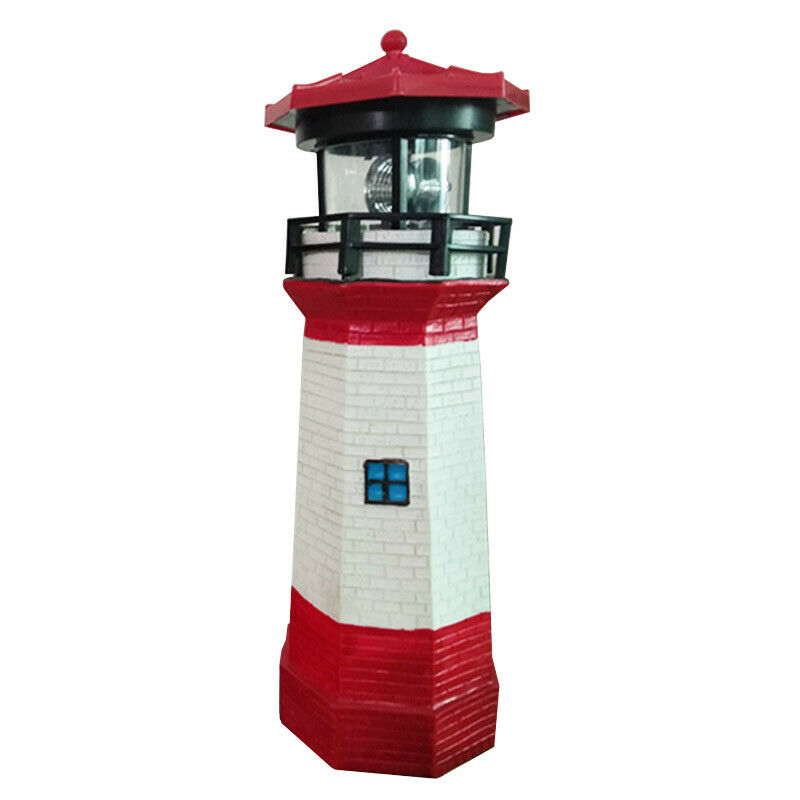 Automatically lit LED Solar light Lighthouse Statue shape Rotating Outdoor solar powered lamp for Garden Yard decoration New