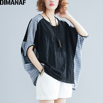 DIMANAF Summer Plus Size Blouse Shirts Women Clothing Cotton Linen Casual Spliced Plaid Lady Tops Tunic Oversize Batwing Sleeve цена 2017