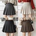 Женская Зимняя шерстяная мини-юбка с высокой талией, бежевая, серая, черная, коричневая