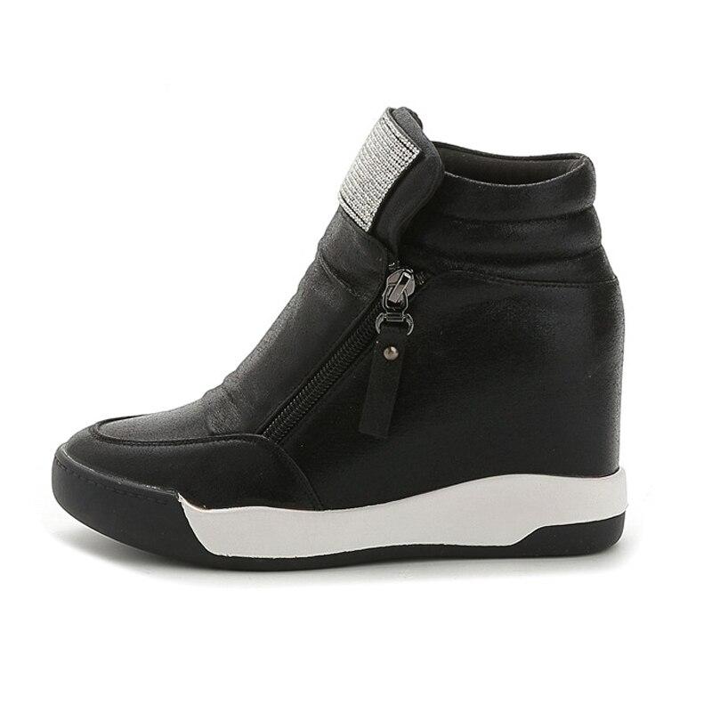 High Top Women Shoes Sneakers 2020 Fashion Wedges Shoes For Women Platform Sneakers Ladies Shoe Casual Zipper Rhinestone Heels