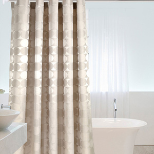 Image 1 - Elegant Circle Solid Shower Curtain Polyester Fabric Thick Waterproof Bath Curtain Mold Simple Bathroom Set Partition Curtain