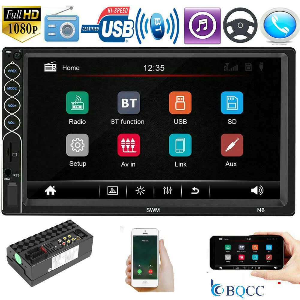 Car Audio 2DIN  Stereo MP5 Player 7in BT USB AUX FM Radio Android IPhone XR Mirror Link     Auto Touch Screen