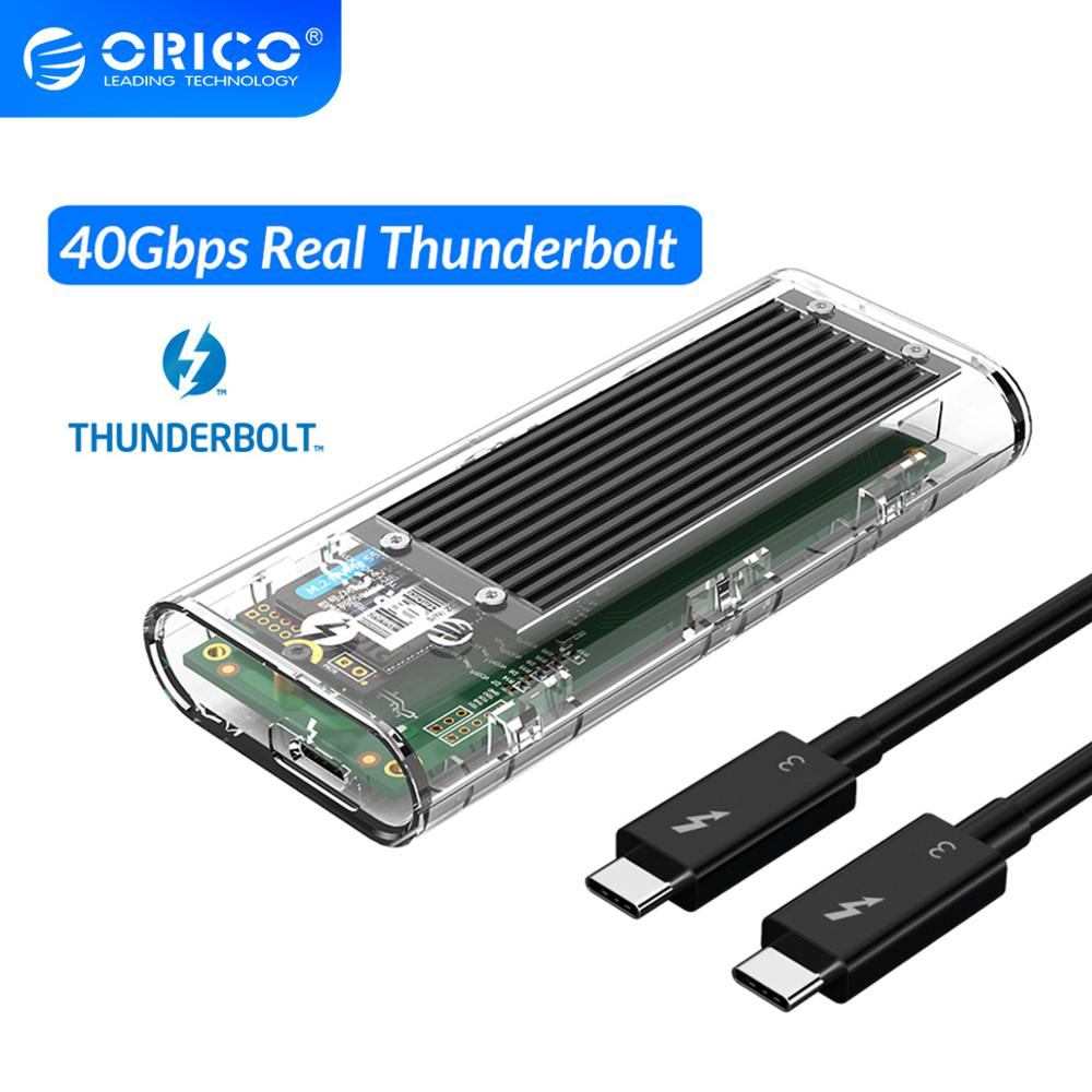 ORICO Thunderbolt 3 40Gbps M.2 NVME SSD Enclosure 2TB Transparent USB C SSD Case with 40Gbps C to C Cable For Mac WindowsHDD Enclosure   -