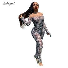 Sexy US Dollar Print Skinny Jumpsuit Vintage Off Shoulder Long Sleeve Bodycon Women Casual Evening Club Overalls Romper