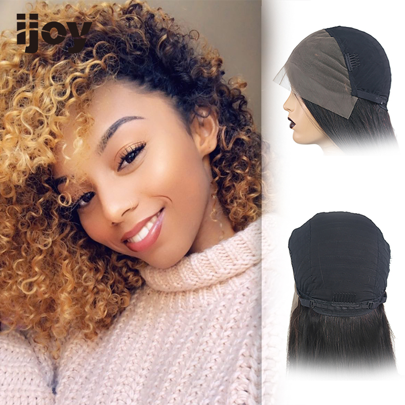 IJOY Kinky Curly Wig Ombre Honey Blonde 13x4 Lace Front Human Hair Wigs Lace Wig Brazilian Curly Human Hair Wig Non-Remy IJOY