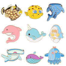 Broochs For Women Cute Cartoon Whale Dolphin Underwater World Enamel Pin Badges Clothes Trendy Jewelry Accessories