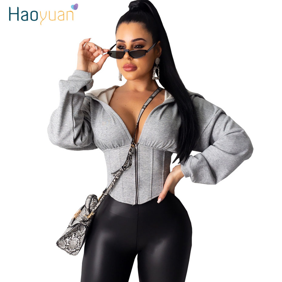 HAOYUAN Long Sleeve Cropped Hoodies Women 2020 Spring Hoody Jacket Clothes Hooded Sweatshirt Sexy Zip Up Oversized Hoodie Tops