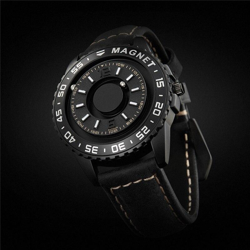 Magnética sem Ponteiro Pulseira de Couro Relógio de Quartzo Masculino e Feminino Eutour Marca Original Nova Tecnologia Preta Toque Cego High-end
